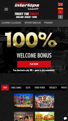Intertops Casino App Homepage
